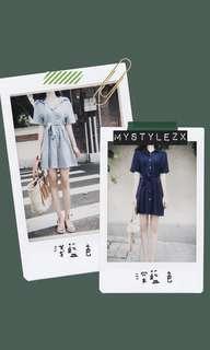 預售 | 修腰條紋連身裙
