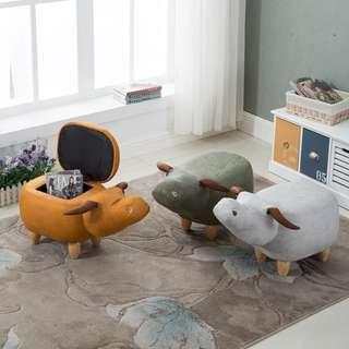 🚚 Anivia Baby Buffalo Ox Storage Ottoman Pouffe Side Stool