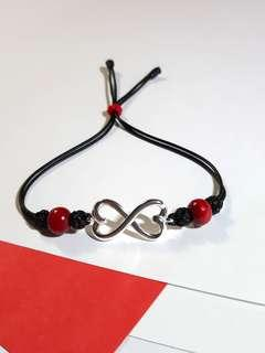 手工造手繩自家製設計925心心相印純銀件handmade sterling silver wax cord bracelet two hearts together my design jewelry