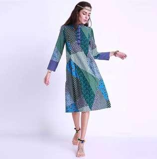 🚚 Ethnic Pattern Dress w Chinese Collar & Buttons