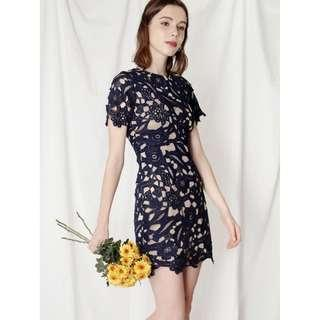 ANDWELLDRESSED FLAIR FITTED GUIPURE DRESS