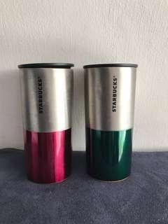 Starbucks tumbler red and green