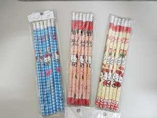 Hello Kitty 鉛筆-一包6支喔!……可選色-藍色/黃色/粉紅色