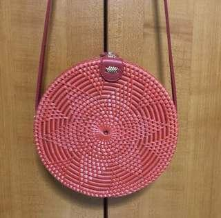 BN Red Rattan Round Sling Bag