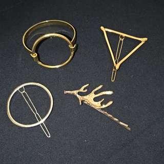 🚚 歐美 金 銀 髮夾 髮飾 手鐲 手環 髮圈 圓圈 圈圈 圓形 三角形 鹿角