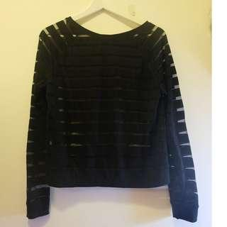 Sixty-Eight Stripes Black Long Sleeves Top