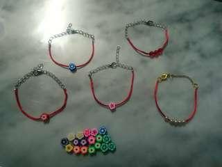 紅繩款式*花花+紅色珠仔+仿珍珠 redline