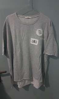 Pull&Bear Grey T-shirt w/ Patch