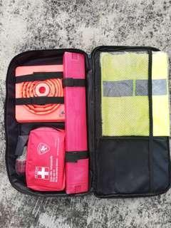 First aid kit set, triangle, shirt @ emergency light