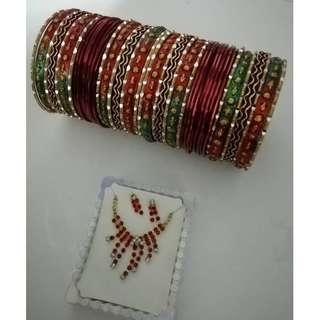 Indian Accessories (bracelet + necklace + earing)