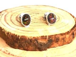Black Opal Stud Earrings in Silver 925