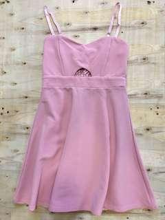 Pink spaghetti stripe dress
