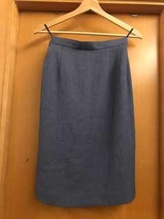 Vintage blue-grey pencil skirt