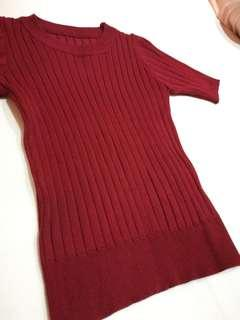 Burgundy red knitted blouse