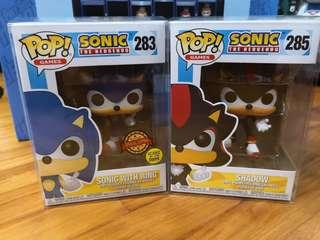 Funko Pops - Sonic with Ring Glow in the Dark Special Edition and Shadow