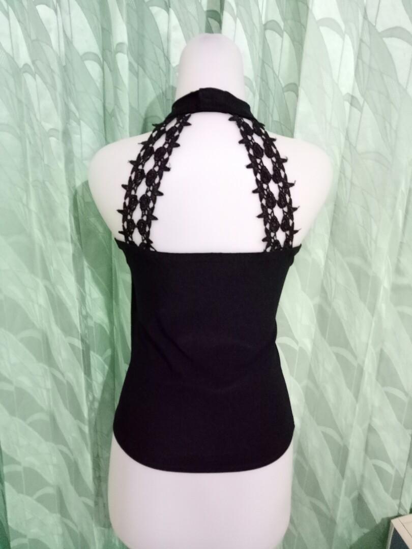Atasan tanktop bodycon black lace payet