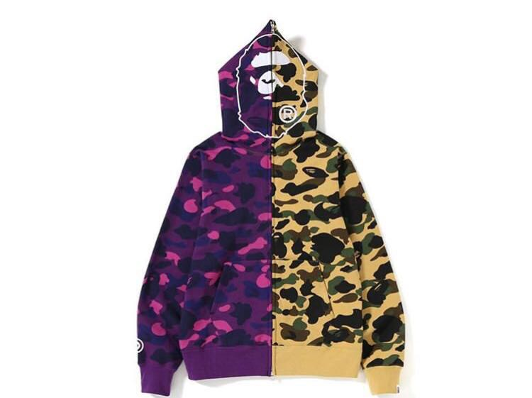 53684da9 Bape 1st camo x color camo 2nd ape half full zip hoodie, Men's ...
