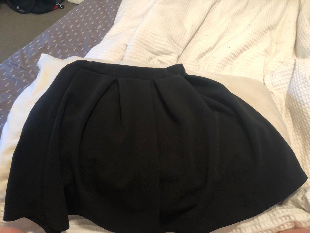 Black pleated skater skirt