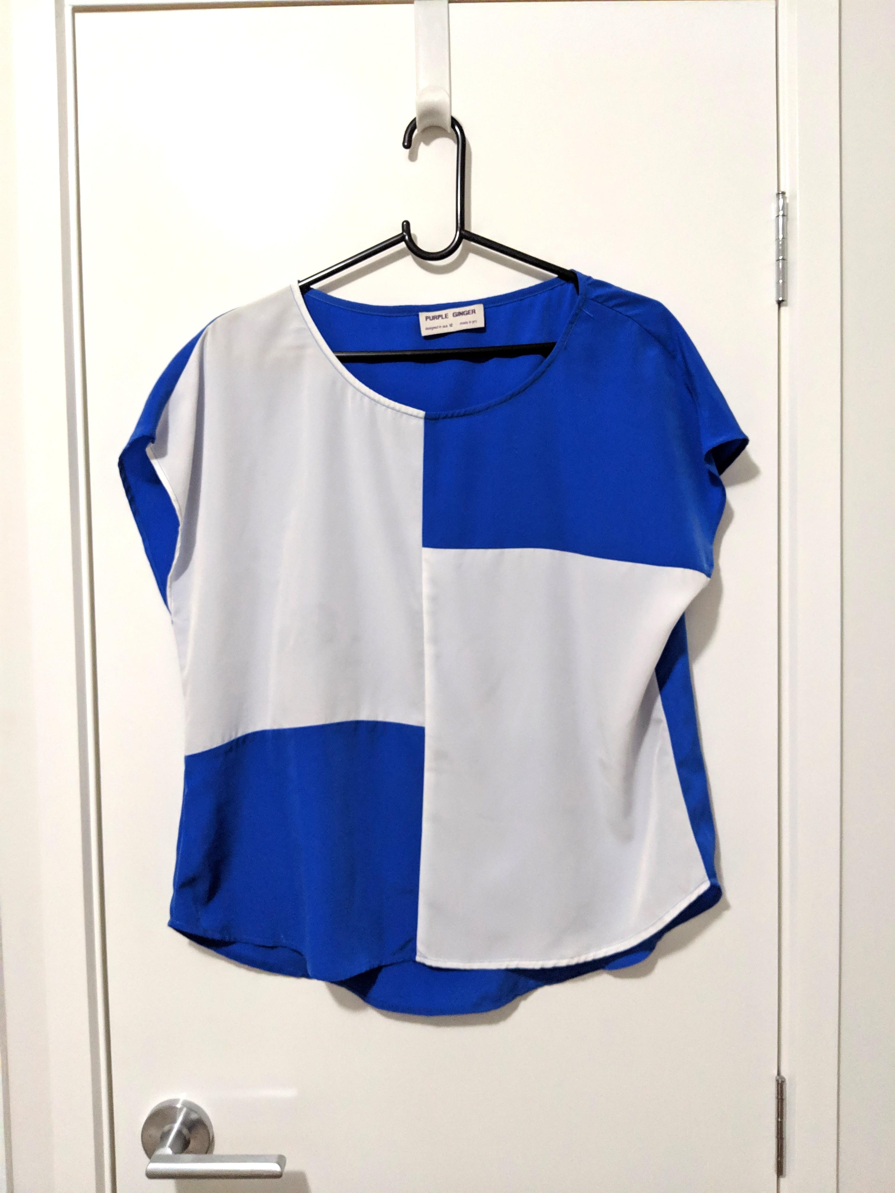 Blue Ginger Loose Blue Top Womens Ladies Work Corporate Dressy Stylish Office