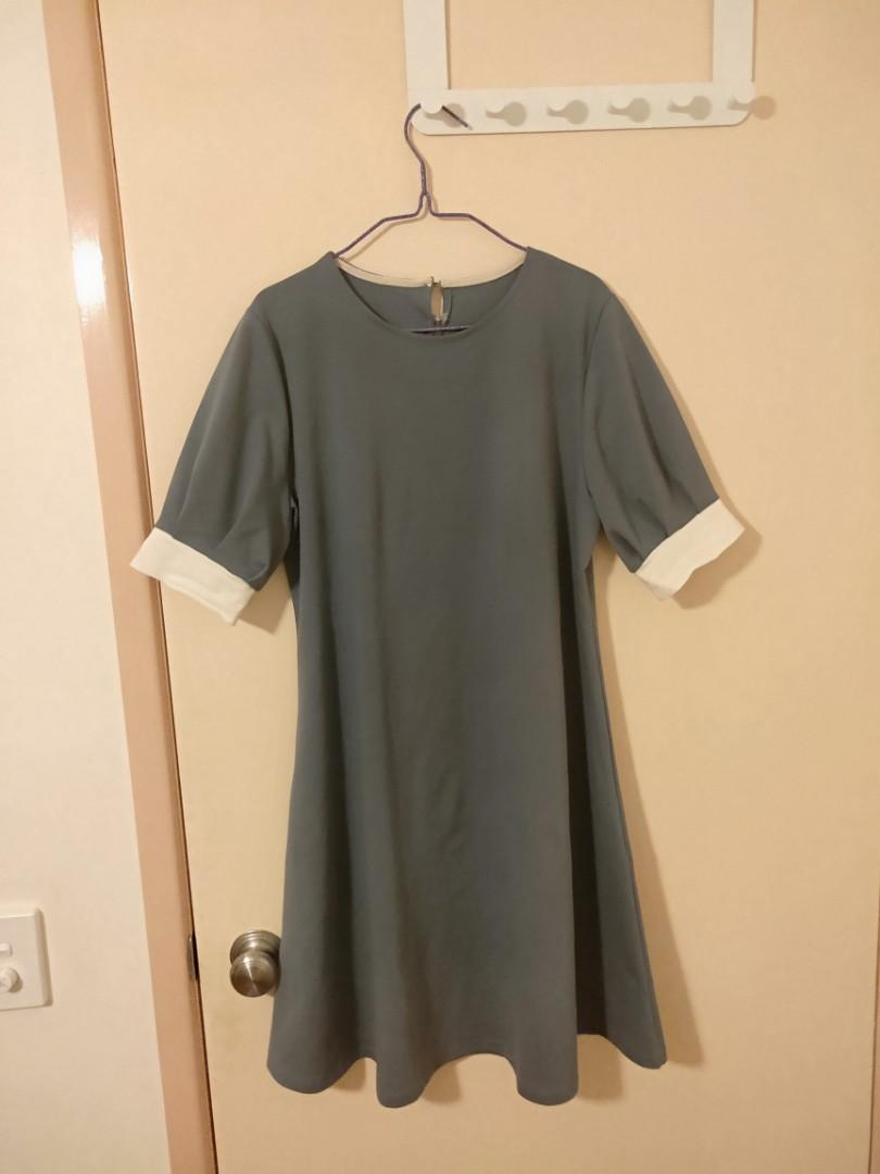 blue-grey colour dress , look at the details of the sleeves