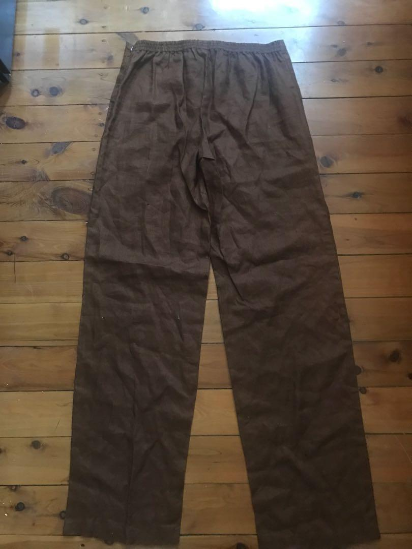 Bnwt women's colour code brown wide leg cotton pants size 10