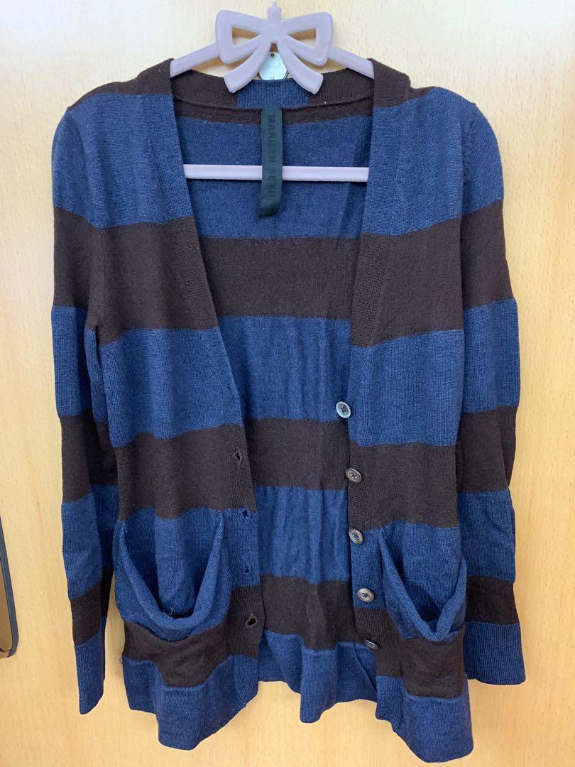 Cardigan 藍啡色橫間針織外套