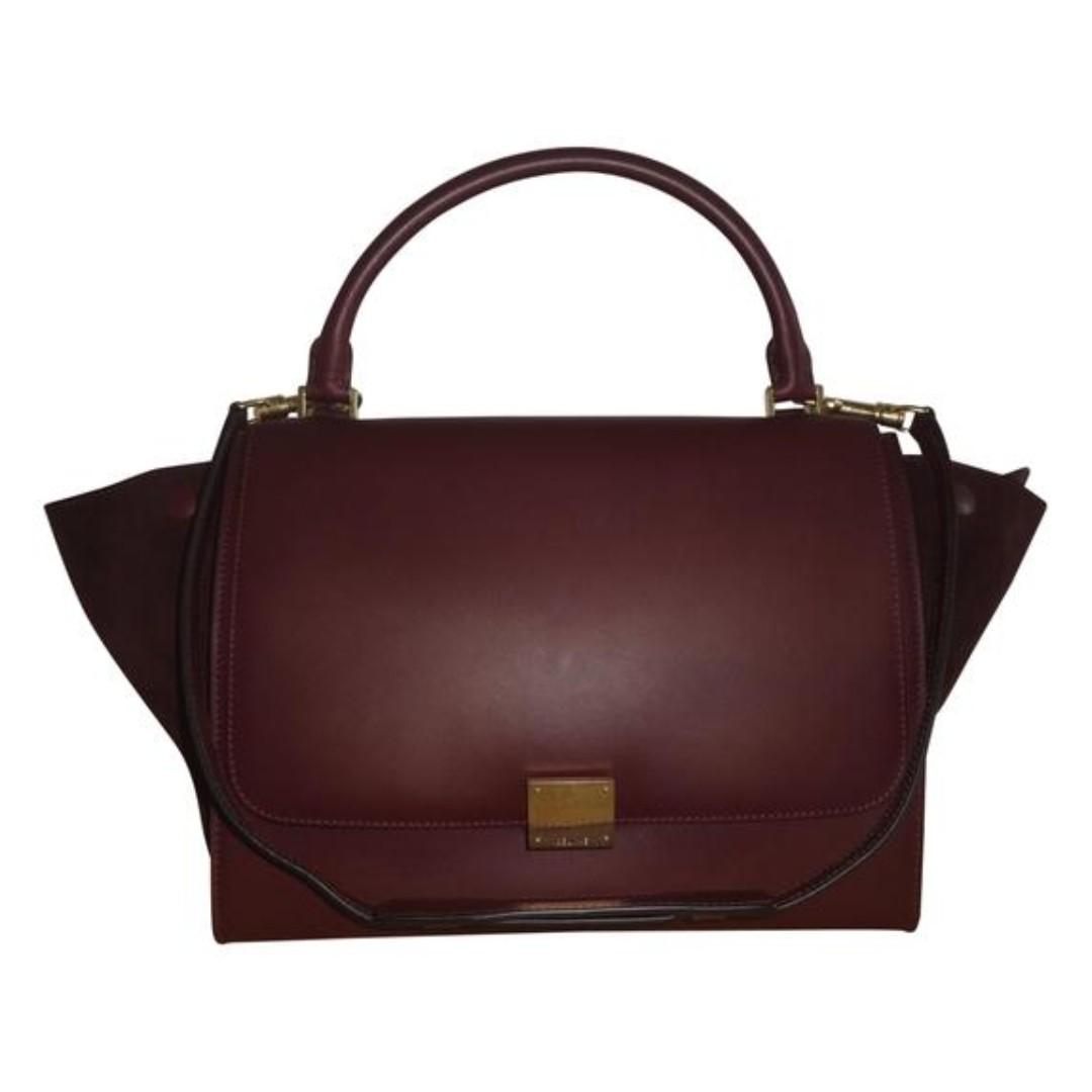 ed4988fbee0e Celine Trapeze Bag Burgundy, Women's Fashion, Bags & Wallets ...