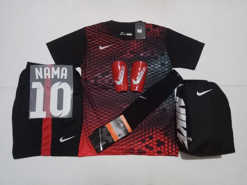 2184ff9c3c1 custom team soccer jersey custom jersey black red (FREE PRINTING ...