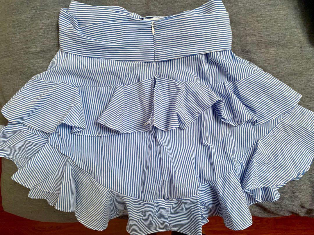 Cute skirt with bow on front - high-waisted - blue/white stripes