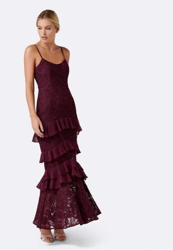 17945d5b236 Forever New Shania Lace Gown in Wineberry