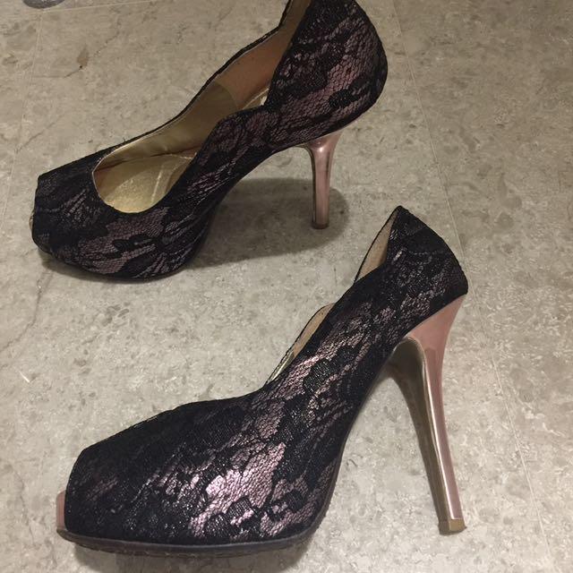 Lapella Peeptoe Lace Overlay Pink Platform Heels