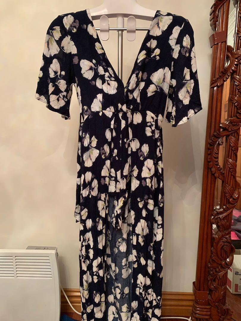 Navy blue / white floral playsuit with skirt overlay