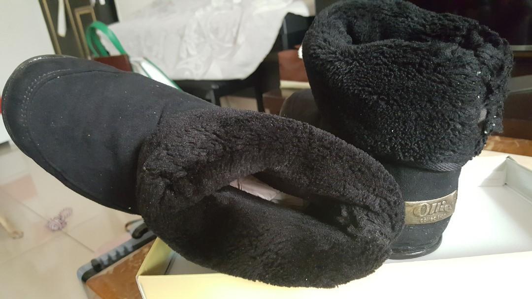【Ollie韓國空運】正韓製/經典布標內鋪毛中筒雪靴