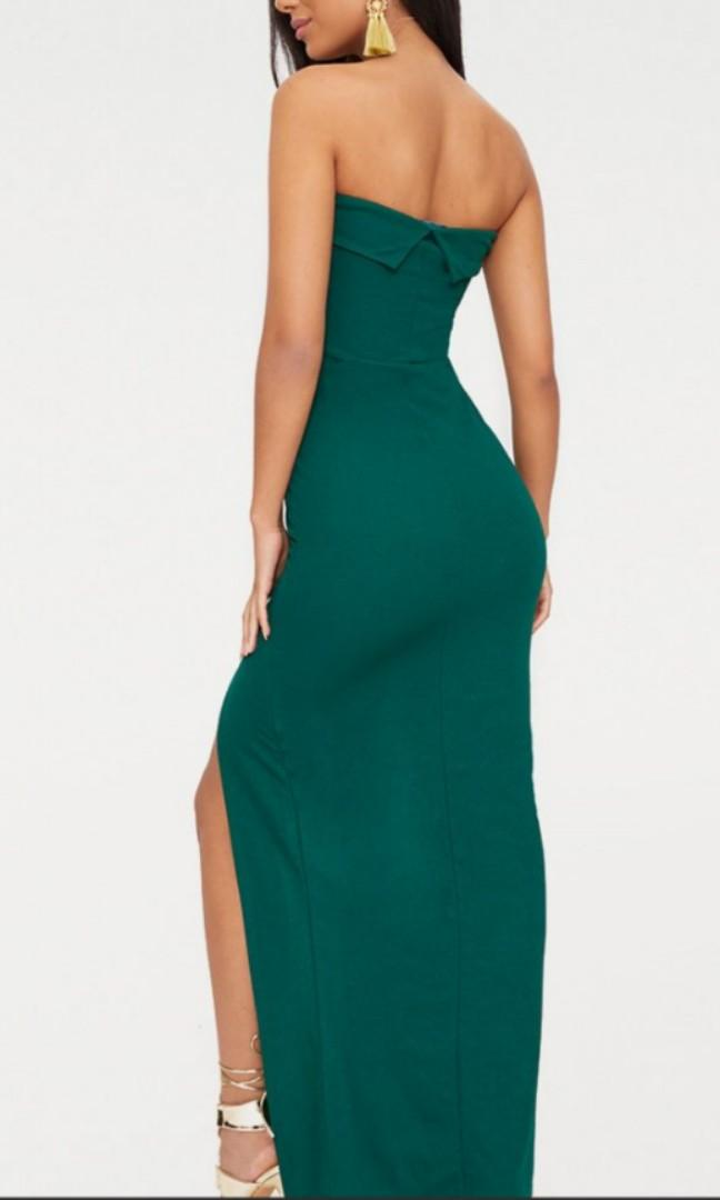 PLT EMERALD GREEN BANDEAU SPLIT DRESS
