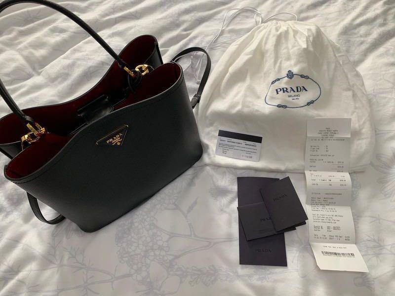 62da5d367f4d30 Prada Double Saffiano Leather Bag - Black/Fiery Red, Luxury, Bags ...