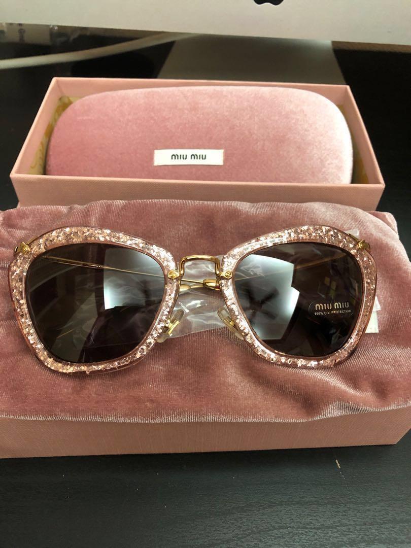 b703b033c9a0 Rare] Brand New Miu Miu Pink Glitter Sunglasses , Women's Fashion ...