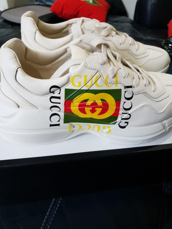 a89b60a33 Rhyton Gucci Logo Leather Sneaker, Men's Fashion, Footwear, Sneakers ...