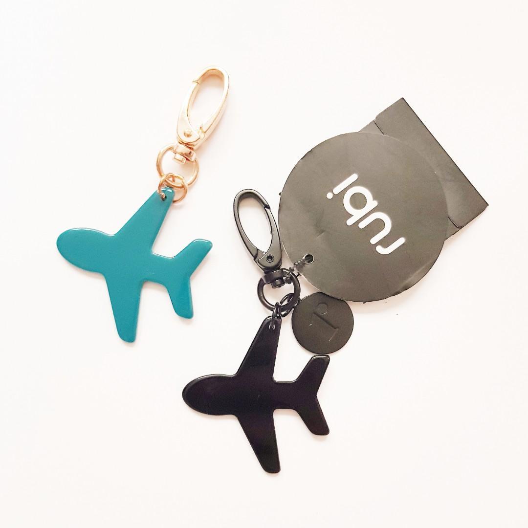 Rubi Black & Blue Silhouette Plane Key Ring Chain Charms