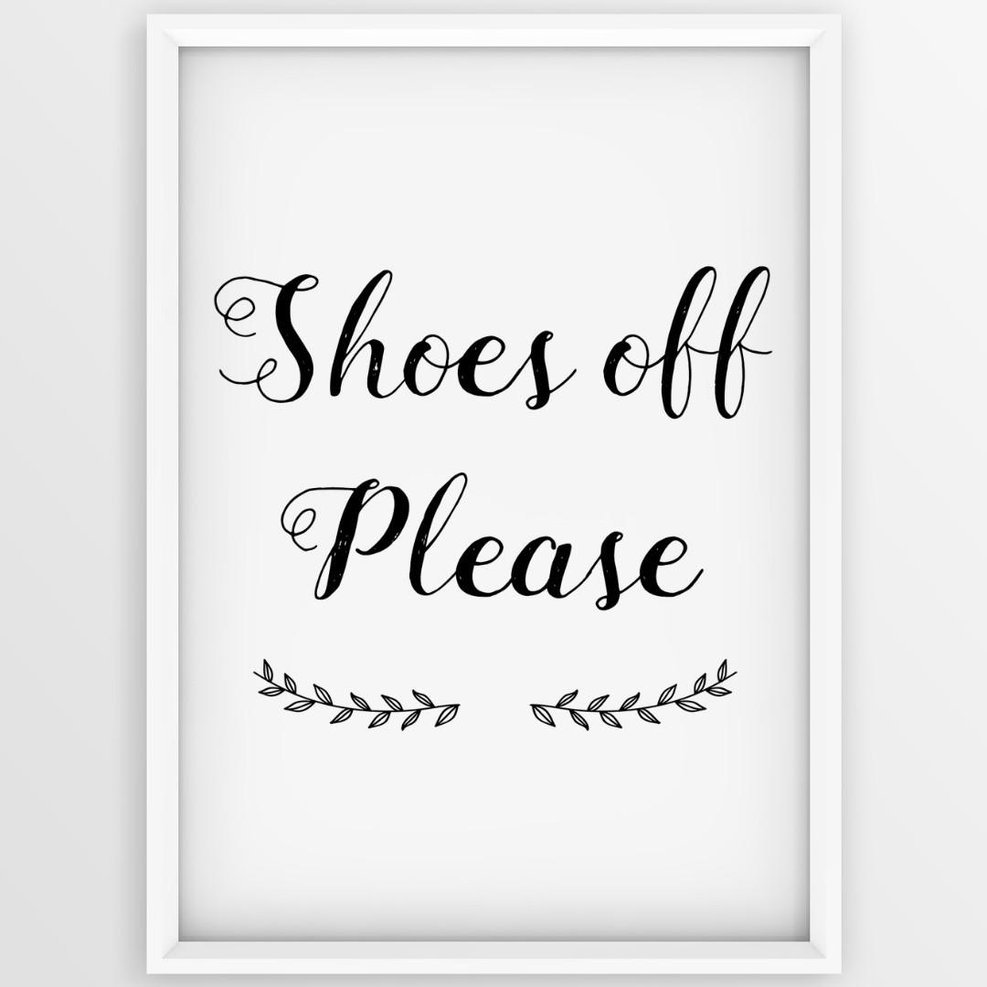 image about Printable Prints called Footwear Off Remember to, Electronic Printable, Print, Get off