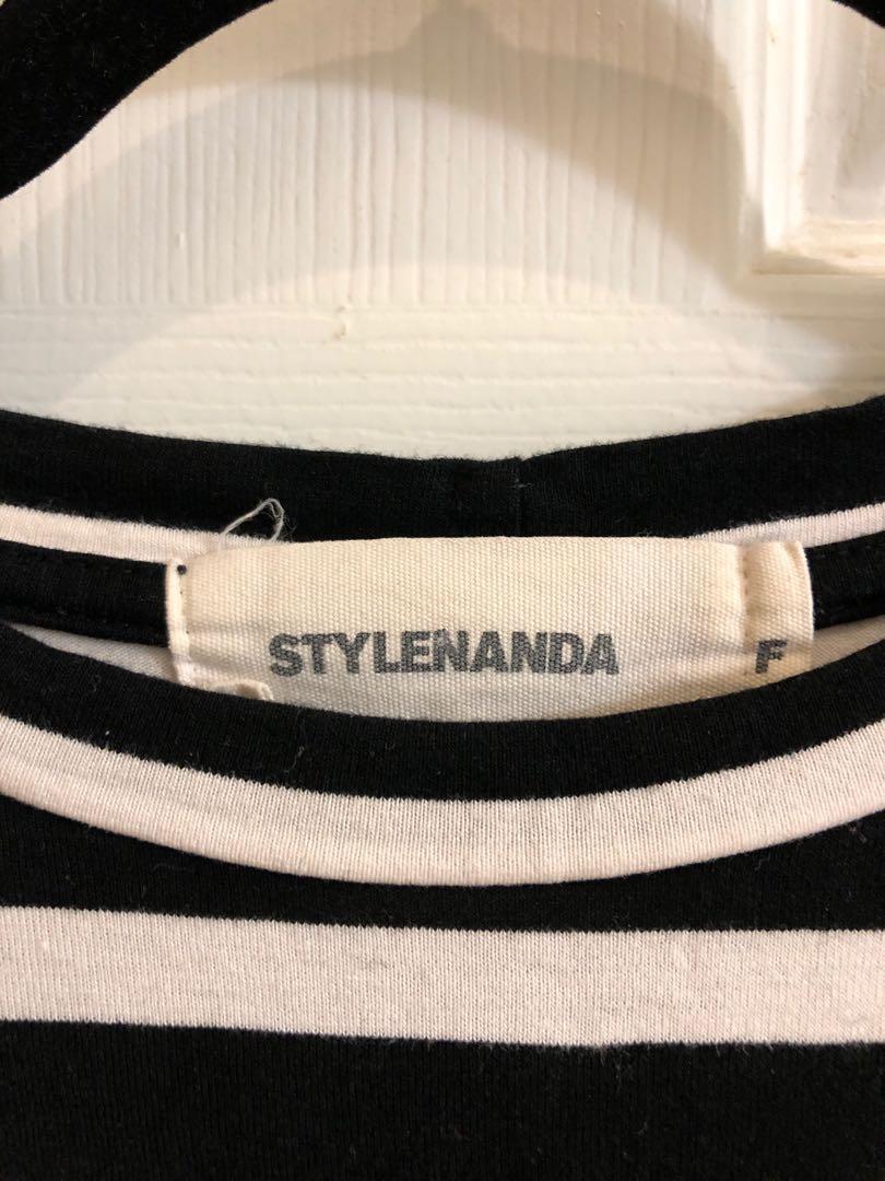 Stylenanda Korea Kpop Striped Knit Half Sleeve Top