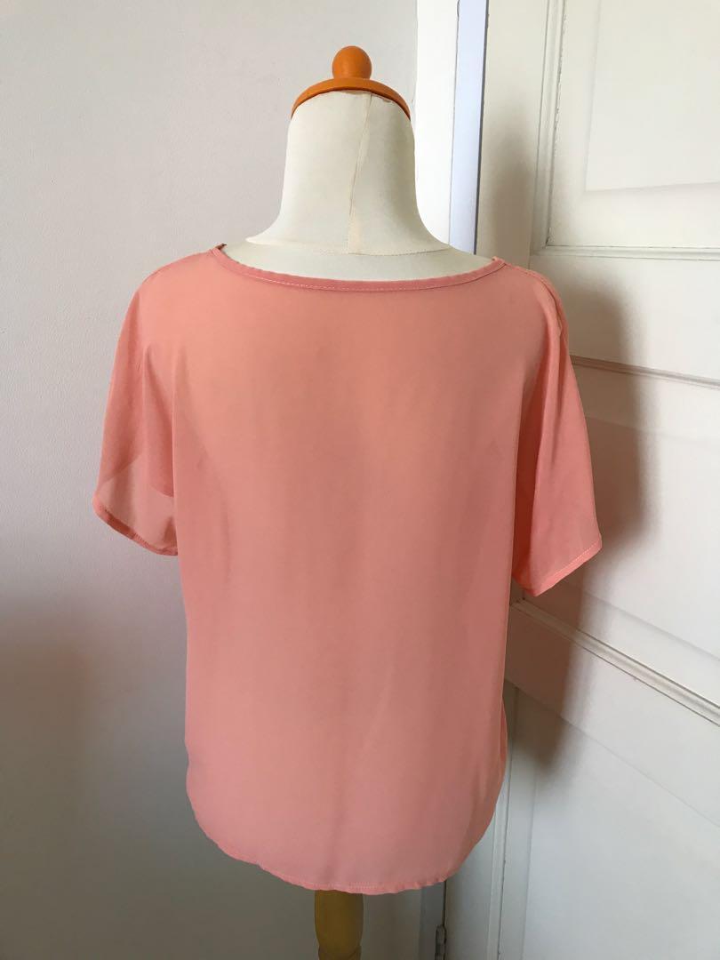 Two Tone Orange Pocket Top