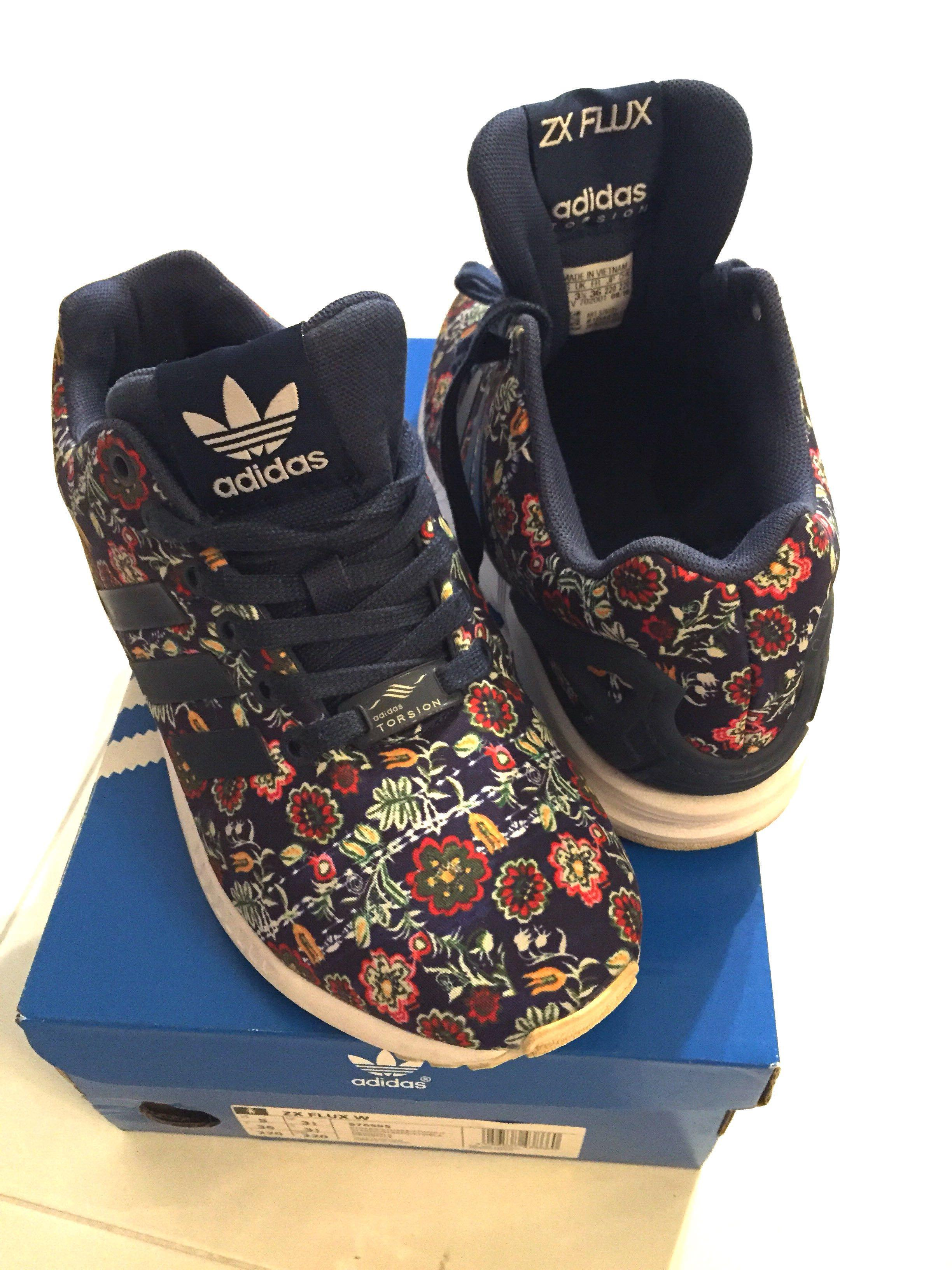 size 40 8404f 99f10 WORN TWICE* Adidas ZX Flux W (Blue Floral), Women's Fashion ...