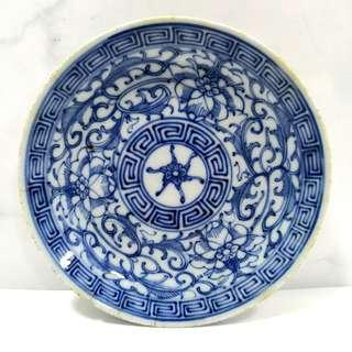 Qing Dynasty Blue & White Plate 清代青花缠枝莲盘