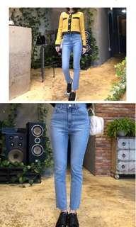 🚚 高腰 牛仔褲 修飾小腿韓版 刷色 漂亮 全新 26腰
