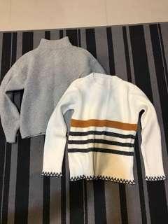 灰色微高領毛衣/白色條紋毛衣 兩件100