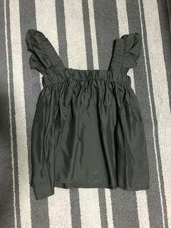 Black Ruffle Babydoll Top
