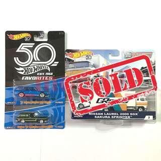 Hot Wheels '71 Datsun Bluebird 510 Wagon, Custom '69 Volkswagen Squareback, Nissan Laurel 2000 SGX Sakura Sprinter