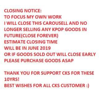CLOSING NOTICE: TO FOCUS ON MY OWN WORK I WILL CLOSE THIS CAROUSELL AND NO LONGER SELLING ANY KPOP GOODS IN FUTURE(CLOSE FOREVER) ESTIMATE CLOSE AT JUNE 2019.PLEASE PURCHASE GOODS YOU WANT.BTS EXO TWICE WANNA ONE APINK SNSD AOA SHINEE T-ARA SEVENTEEN GOT7