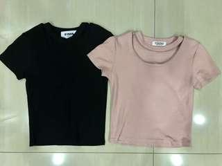 ✨ black pink basic knitted choker shirt crop top // instock