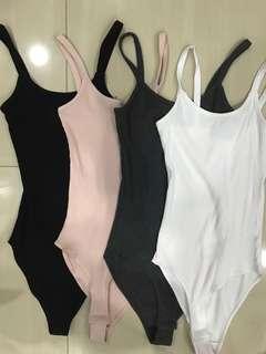 ✨ TEMT black pink dark grey white basic body hugging knitted spag bodysuit overall // instock